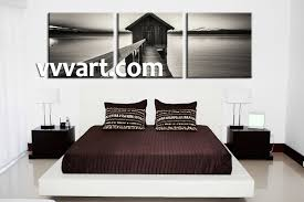 Black And White Wall Decor For Bedroom 3 Piece Canvas Ocean Grey Wall Art