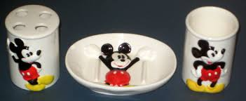 Mickey Mouse Bathroom Accessory Set Sold Mickey Mouse Ceramic Bathroom Set Soap Dish Toothbrush Holder