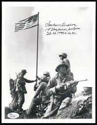 Flag Iwo Jima Lot Detail Charles W Lindberg And Joe Rosenthal Signature