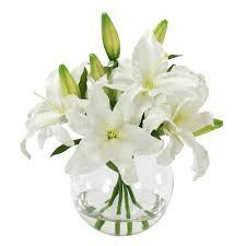 casablanca lilies bouquet in glass vase 16 white