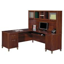 Home Office L Shaped Computer Desk L Shaped Office Desk With Hutch Made Of Teak Wood In Brown