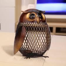 tooarts owl metal coin saver box money pot home decor articles