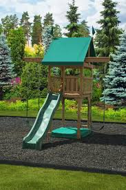 Wood Backyard Playsets by Brown Wood Backyard Playsets With Epanse Green Grass For