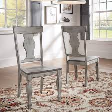 Set Of Two Dining Chairs Eleanor Grey Two Tone Square Turned Leg Wood Dining Chairs Set Of