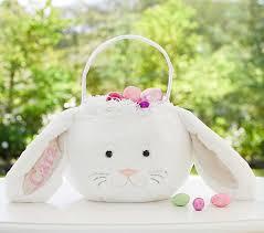 plush easter baskets white bunny easter basket pottery barn kids