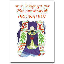 with thanksgiving on your 25th 25th ordination anniversary card