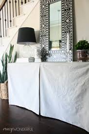 Diy Entry Table by Diy Skirted Table No Sew Crazy Wonderful