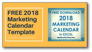 2018 marketing calendar template in excel free download u2022 say