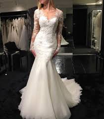 see through long sleeves v neck mermaid fishtail wedding