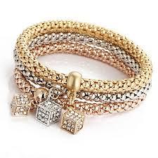 bracelet gold women images Buy generic 3pcs charm women bracelet gold silver rose gold jpg