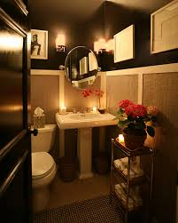 Romantic Bathroom Decorating Ideas Colors This Half Bath Is Amazing Very Dramatic With The Dark Colors But