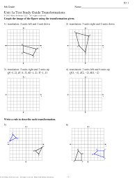 Transformations Geometry Worksheet Unit 1a Test Study Guide Transformations