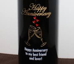 anniversary wine bottles personalized etched wine bottle gift review planet weidknecht