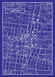 Map Of Downtown Los Angeles 1949 Vintage Map Of Downtown Los Angeles Blueprint Map Print