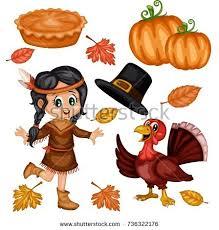 thanksgiving turkey bird wearing pilgrim hat stock vector