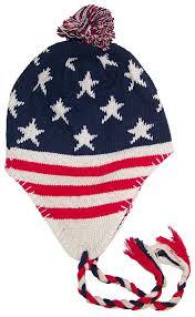 American Flag Beanie Best Winter Hats Knit Ear Flap Hat W Pom Pom One Size