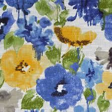 Upholstery Fabric For Curtains Royal Blue Watercolor Floral Upholstery Fabric Green Yellow