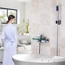 handheld bath promotion shop for promotional handheld bath on bath shower faucets square wall mounted waterfall glass spout bathroom bath handheld shower tap mixer bathtub faucet faucets