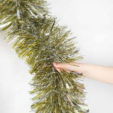 luxury chunky gold and silver tinsel christmas tree decoration