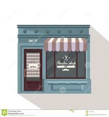 Awning Window Symbol Facade Barbershop Signboard With Emblem Awning And Symbol In