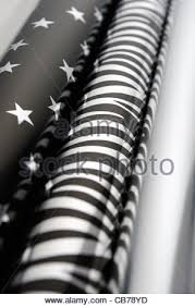 silver and black wrapping paper uk stock photo