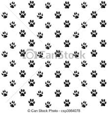 vector paw print print black paws white background