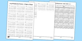 long multiplication practice 4 digits x 2 digits long