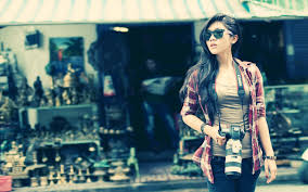wallpaper girl style wallpaper girl camera style shirt street city 2560x1600