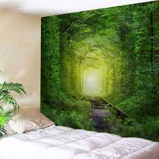nature tree hole wall art tapestry green w inch l inch in wall fairy forest railway wall decoration hanging tapestry
