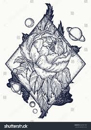 esoteric rose tattoo art tshirt design stock vector 643921396