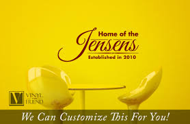 custom family name home jensens cursive established in year