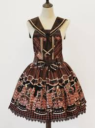 lolitashow sweet dress jsk brown printed jumper