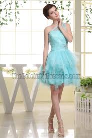 cute light sky blue one shoulder tulle party dress homecoming