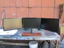 Triple Monitor Wall Mount Diy Triple Monitor Stand My Take On It H Ard Forum Office