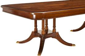 georgian mahogany 2 pedestal fixed dining table safavieh inspired by the classic lines and georgian aesthetic of master furniture designer duncan phyfe the fruitwood fixed dining table is an heirloom quality