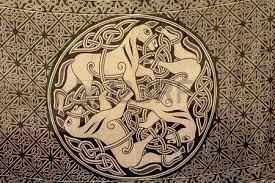 celtic ornament of three horses on the fabric ancient symbol