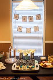 boy themed baby shower blue and gray baby boy shower pasta and a tool belt