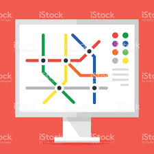conceptmodern information stand with subway map metro map concept modern flat