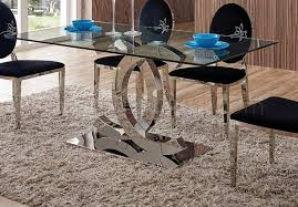 dining table by esf w clear glass top optional 110 chairs