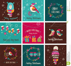 merry christmas design greeting cards doodle illustrations stock