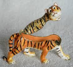 vintage decoration wild animal figurine faberge style tiger animal