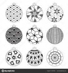 Black And White Invitation Cards Set Of Hand Drawn Christmas Balls With Doodle Decorative Elements