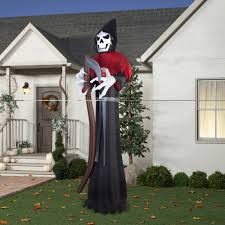 scarecrow halloween decorations gemmy airblown inflatable 12 u0027 x 4 u0027 giant grim reaper halloween