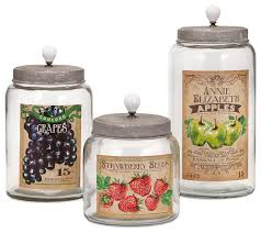 decorative kitchen canisters bailey lidded glass jars set of 3 farmhouse decorative jars