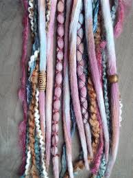 hippie hair wraps 10 pomegranate tie dye wool synthetic dreadlock clip in or braid