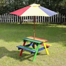 childrens bench and table set kids picnic bench with parasol home garden furniture