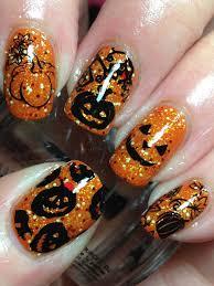 sparkly pumpkin halloween nails mani pedi pinterest nail
