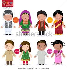 sri lankan national dress kids traditional costume afghanistan bangladesh pakistan stock
