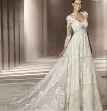 cheap lace v neck wedding dress with sleeves ipunya