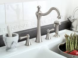 shop premier faucet sonoma brushed nickel 1 handle pull two handle kitchen faucet with matching side spray brushed nickel